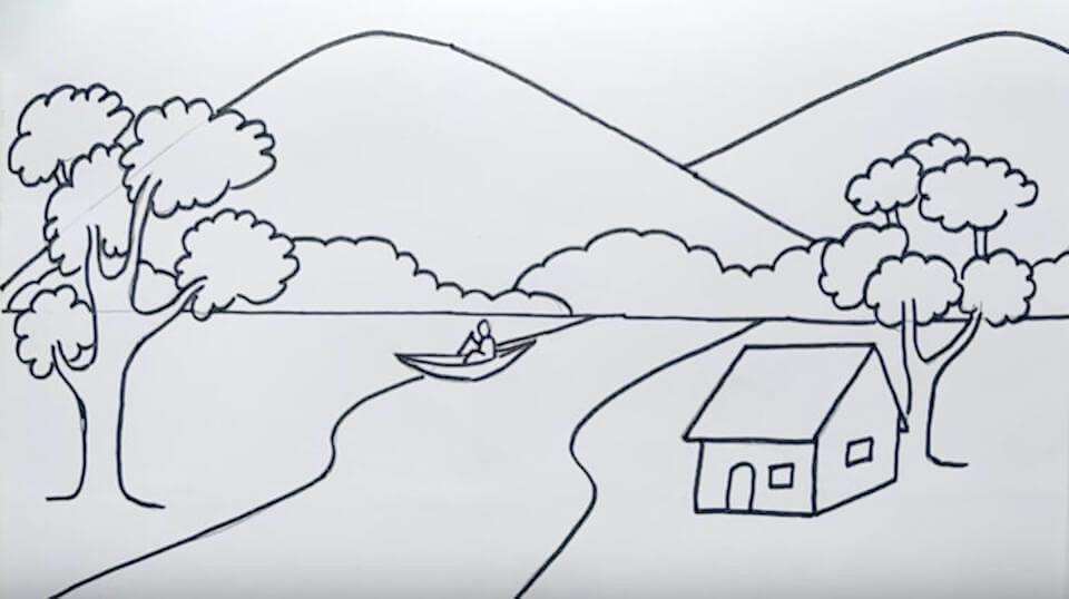 Tranh phong cảnh làng quê bằng bút chì